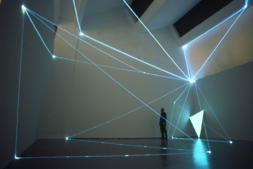 02 CARLO BERNARDINI, PERMEABLE SPACES 2002, Optical fibres, electro-luminescent surface; feet h 27x39x33; Triennial of Milan.