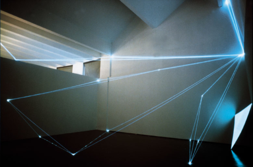 03 CARLO BERNARDINI, PERMEABLE SPACES 2002, Optical fibres, electro-luminescent surface, feet h 27x39x33, Triennial of Milan.
