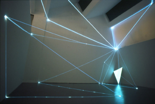 05 CARLO BERNARDINI, PERMEABLE SPACES 2002-Optical fibres, electro-luminescent surface, feet h 27x39x33, Triennial of Milan.