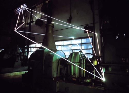 06 CARLO BERNARDINI, Permeable Space 2001, optic fibers, feet h 35x35x17,5, Officine del gas Bovisa, Milan.