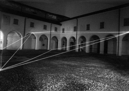 16 CARLO BERNARDINI, Permeable Space 1999, optical fibers; feet h 18x60x60; S.Domenico Cloisters, Reggio Emilia.