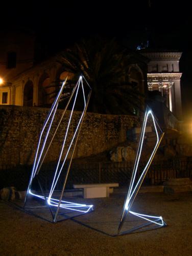 24 CARLO BERNARDINI, Light Line 2003, stainless steel, feet h 13x7x17; Piazza del Campidoglio, Rome.