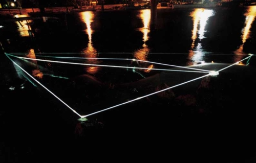32 CARLO BERNARDINI, Permeable Space 2002, optic fibers in high water, feet h 5x50x27, Jesolo (VE), Terrazza Mare, Light-Proof.