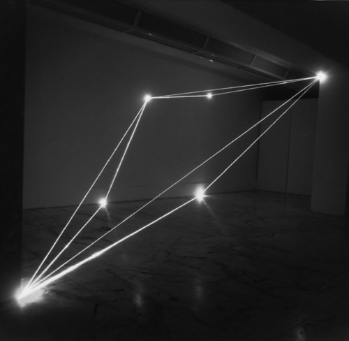 42 CARLO BERNARDINI, THE DIVISION OF VISUAL UNITY 1999 Optical fibers, feet h 10x23x15, Laboratory Museum of Contemporary Art La Sapienza University, Rome.