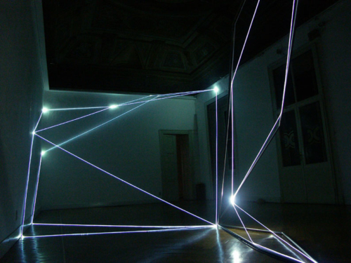 08 CARLO BERNARDINI, Permeable Spaces 2004, stainless steel, optical fibres, feet h 15x20x47, (part.1) Milano Gallery, Milan.