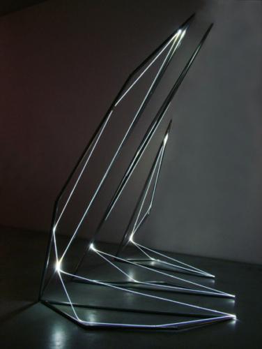14 CARLO BERNARDINI, Light Line 2004, Stainless steel, optic fibers, feet h 10x7x10, Fioretto Gallery, Padova