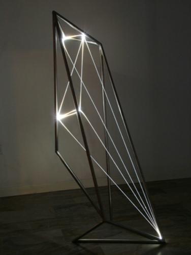 21 CARLO BERNARDINI, Permeable Space 2002, Stainless steel, optical fibers, feet h 5x2x2.