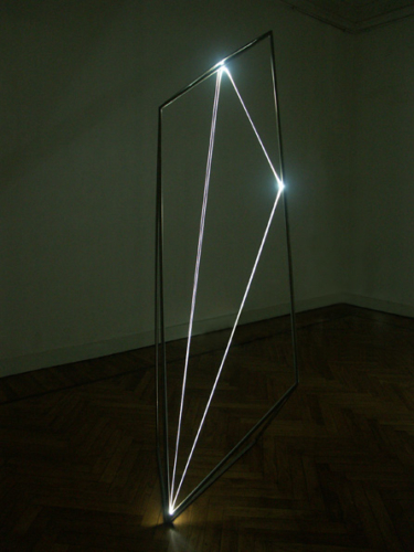 22 CARLO BERNARDINI, The Division of Visual Unity 2002, Stainless steel, optical fibers, feet h 8x3x3 (one-dimensional vision).