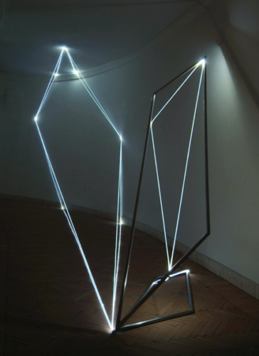 15 CARLO BERNARDINI, Light Catalyst 2005, stainless steel, optic fibers; feet h 11x25x7, Rome, S.Luca Academy.