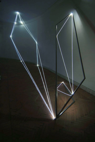 16 CARLO BERNARDINI, Light Catalyst 2005, stainless steel, optic fibers, feet h 11x25x7, Rome, S.Luca Academy.