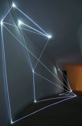 18 CARLO BERNARDINI, Light Catalyst 2005, stainless steel, optic fibers, feet h 11x25x7; Rome, S.Luca Academy.