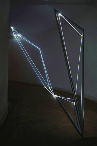 19 CARLO BERNARDINI, Light Catalyst 2005, stainless steel, optic fibers, feet h 11x16x6, Rome, S.Luca Academy.