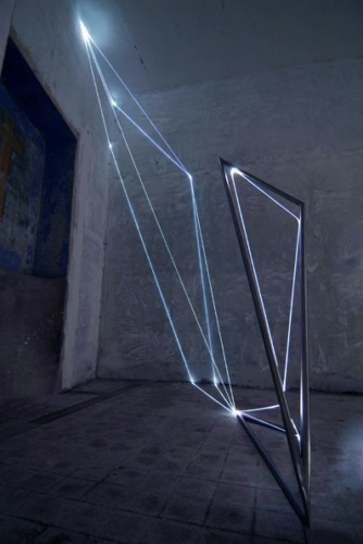 21 CARLO BERNARDINI, Light Catalyst 2005, stainless steel, optic fibers, feet h 18x14x11. Viterbo, S.Tommaso Church.