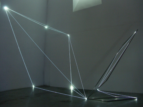 22 CARLO BERNARDINI, States of Lighting 2005, stainless steel, optic fibers, feet h 18x14x22. Frascati, Scuderie Aldobrandini.