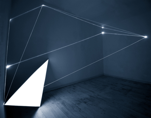 23 CARLO BERNARDINI, Light Catalyst 2005, optic fibers, electroluminescent surface, feet h 11x22x7, Rome, Il Sole Contemporary Art Gallery.