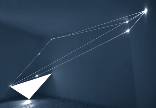24 CARLO BERNARDINI, Light Catalyst 2005, optic fibers, electroluminescent surface, feet h 11x22x7; Rome, Il Sole Contemporary Art Gallery.
