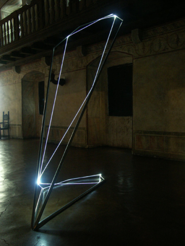27 CARLO BERNARDINI, States of Lighting 2005; stainless steel, optic fibers, feet h 14x5x3. Gorizia, Castello di Gorizia.