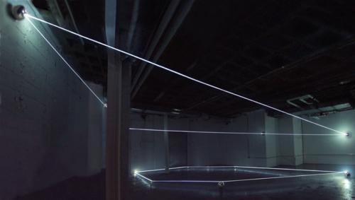 01 CARLO BERNARDINI, Event Horizon 2007; optic fibers, stainless steel spheres; feet h 14x45x35. New York, Swing Space, LMCC.