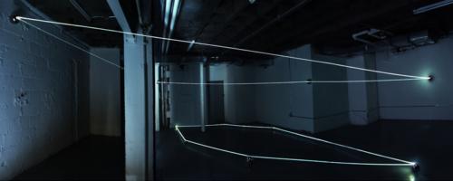 04 CARLO BERNARDINI, Event Horizon 2007, optic fibers, stainless steel spheres; feet h 14x45x35. New York, Swing Space, LMCC.