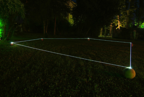 06 CARLO BERNARDINI, Event Horizon 2007, optic fibers, terracotta spheres; feet h 2x52x42. Ariis di Rivignano (UD), Villa Ottello Savorgnan.