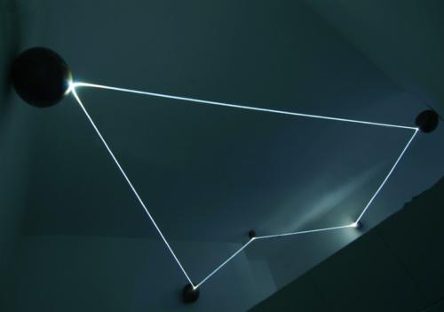 07 CARLO BERNARDINI, Event Horizon 2007, optic fibers, stainless steel spheres; feet h 7x21x17,5. Como, Allarmi3, Casema De Cristoforis.