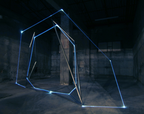 15 CARLO BERNARDINI, Light Catalyst 2007, stainless steel, optic fibers; feet 12,5x28x24,5. Bollate-Milano, Fabbrica Borroni.
