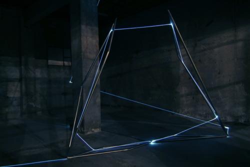 16 CARLO BERNARDINI, Light Catalyst 2007, stainless steel, optic fibers, feet 12,5x28x24,5 (part). Bollate-Milano, Fabbrica Borroni.