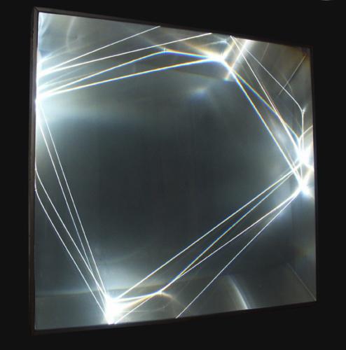 27 CARLO BERNARDINI, Light Catalyst 2006; optic fibers, Olf surface, alluminium, feet h 3,5x3,3x1.
