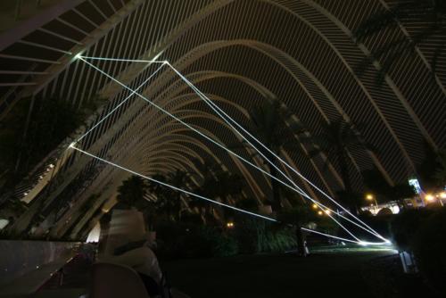 10 CARLO BERNARDINI, PERMEABLE SPACE 2008. Fiber optic installation, feet h 33x55x28. Valencia, Ciudad De Las Artes Y Las Ciencias.