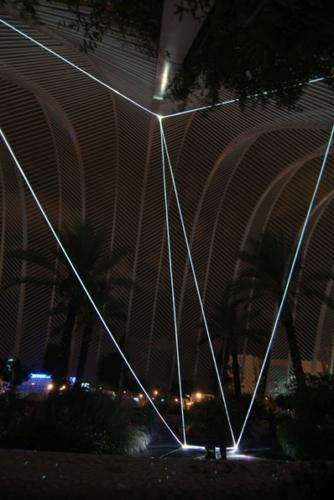 11 CARLO BERNARDINI, PERMEABLE SPACE 2008. Fiber optic installation, feet h 33x55x28; Valencia, Ciudad De Las Artes Y Las Ciencias.