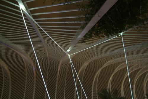 12 CARLO BERNARDINI, PERMEABLE SPACE 2008; Fiber optic installation, feet h 33x55x28. Valencia, Ciudad De Las Artes Y Las Ciencias.