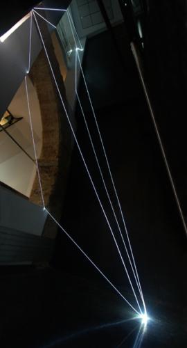 17 CARLO BERNARDINI, PERMEABLE SPACE 2008; Fiber optic installation, feet h 44x11x9; Valencia, La Nau - Universidad de Valencia.