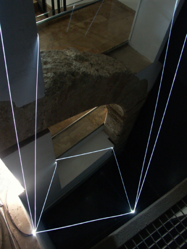 18 CARLO BERNARDINI, PERMEABLE SPACE 2008. Fiber optic installation, feet h 44x11x9. Valencia, La Nau - Universidad de Valencia.