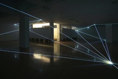 22 CARLO BERNARDINI, PERMEABLE SPACE 2008, Fiber optic installation, feet h 12,5x64x64. Lissone (MI), Museum of Contemporary Art.