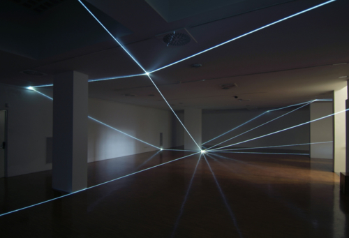 23 CARLO BERNARDINI, PERMEABLE SPACE 2008, Fiber optic installation, feet h 12,5x64x64; Lissone (MI), Museum of Contemporary Art.