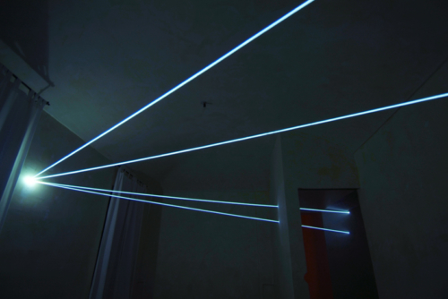 26 CARLO BERNARDINI, SPACE INTERRELATIONS 2008, Fiber optic installation, feet h 11x25x35; Rivara (TO) Castello di Rivara.