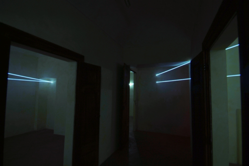 27 CARLO BERNARDINI, SPACE INTERRELATIONS 2008; Fiber optic installation, feet h 11x25x35, Rivara (TO) Castello di Rivara.