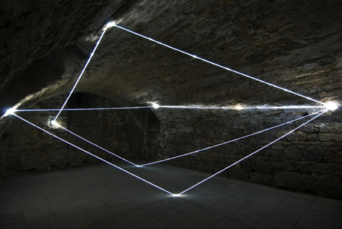 28 CARLO BERNARDINI, LIGHT ACCUMULATOR 2008, Fiber optic installation, feet h 11x22x14. Triefenstein Homburg (Frankfurt), Kunst in Schloss Homburg.