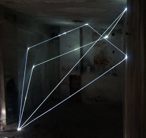 32 CARLO BERNARDINI, PERMEABLE SPACE 2008. Fiber optic installation, feet h 11x11x9. Praga, Alternative Space, TINA B.