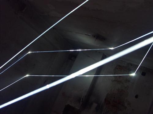 33 CARLO BERNARDINI, PERMEABLE SPACE 2008. Fiber optic installation, feet h 11x11x9; Praga, Alternative Space, TINA B.