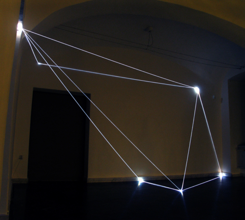 "35 CARLO BERNARDINI, PERMEABLE SPACE 2008. Fiber optic installation, feet h 11x25x28; Bratislava, ""Sculpture and Object XIII"", GMB-Mirbach Palace."