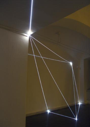 "36 CARLO BERNARDINI, PERMEABLE SPACE 2008; Fiber optic installation, feet h 11x25x28. Bratislava, ""Sculpture and Object XIII"", GMB-Mirbach Palace."