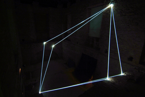 38 CARLO BERNARDINI, SPACE INTERRELATIONS 2008, Fiber optic installation, feet h 22x14x35, Rivara (TO) Castello di Rivara.