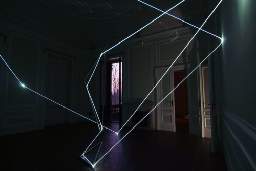 42 CARLO BERNARDINI, LIGHT CATALYST 2008; Stainless steel and fiber optic installation, feet h 16x28x22; Chiari (Brescia) Villa Mazziotti.