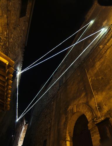 """43 CARLO BERNARDINI, PERMEABLE SPACE 2008. Fiber optic installation, feet h 28x85x11. Castelbasso, """"Spaesamenti"""", via del Forno."""