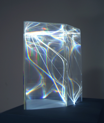 44 CARLO BERNARDINI, LIGHT CATALYST 2002, Model, plexiglass and optical fibers (1,5 mm of diameter) feet h 2x1,5x1.