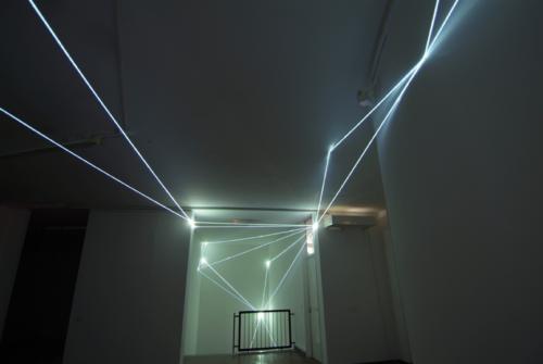 27 CARLO BERNARDINI, CODICE SPAZIALE 2009, Fibre ottiche, mt h 6x15x3, GAM – Civica Galleria d'Arte Moderna, Gallarate, Varese.