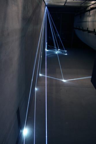 01 Carlo Bernardini, The Corner's Revenge  2011; optic fibres, stainless steele, feet h 66x11x14. MACRO Museo d'Arte Contemporanea di Roma.