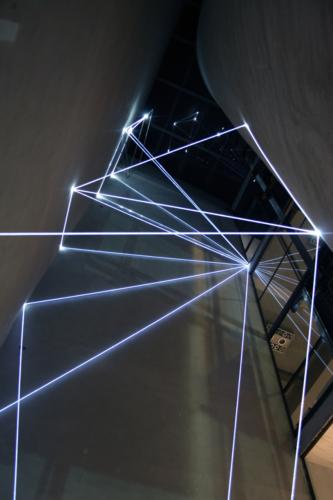 02 Carlo Bernardini, The Corner's Revenge  2011; optic fibres, stainless steele, feet h 66x11x14; MACRO Museo d'Arte Contemporanea di Roma.