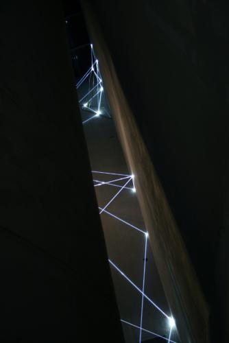 03 Carlo Bernardini, The Corner's Revenge  2011, optic fibres, stainless steele, feet h 66x11x14. MACRO Museo d'Arte Contemporanea di Roma.